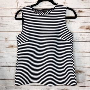 Banana Republic Navy Blue White Striped Tank Top